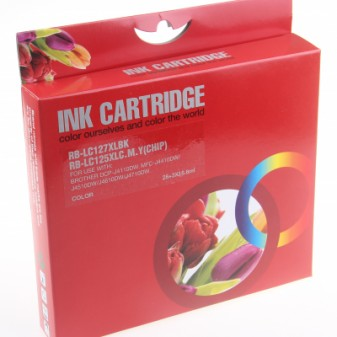 Set of 4 Compatible Brother LC127XL/125XL High Yield Black Cyan Magenta & Yellow Inkjet Cartridges